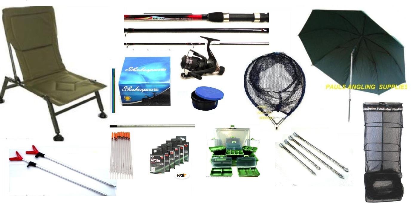 Float fishing kit shakespeare rod reel chair net umbrella for Floating fishing chair