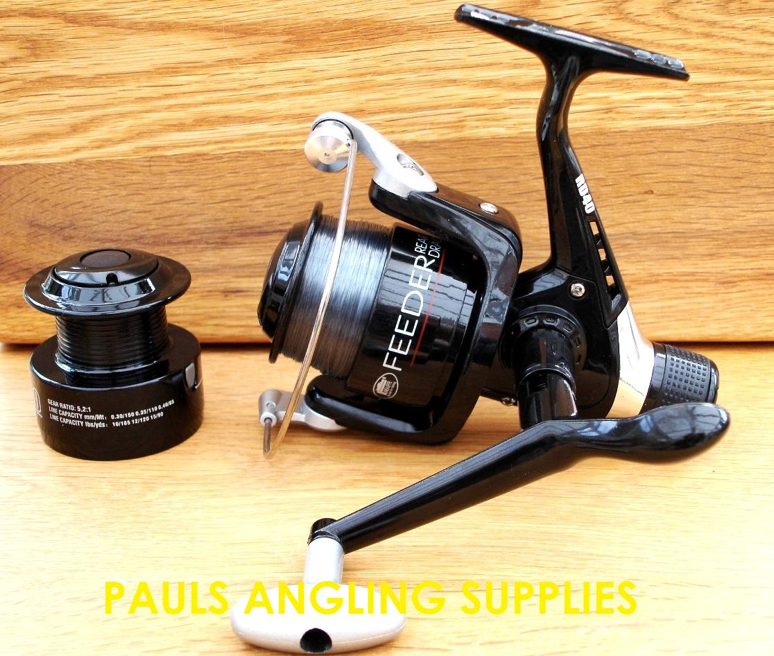 Lineaeffe feeder fishing reel 040 with line spare spool for Fishing line on reel