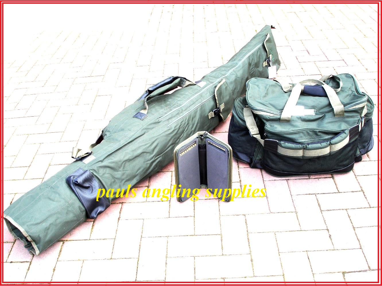 Carp fishing luggage set rod bag holdall carryall rig for Rigged fishing backpack
