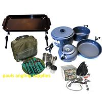 Fishing Camp Table Cutlery Cook set Kettle & Stove Carp Coarse C