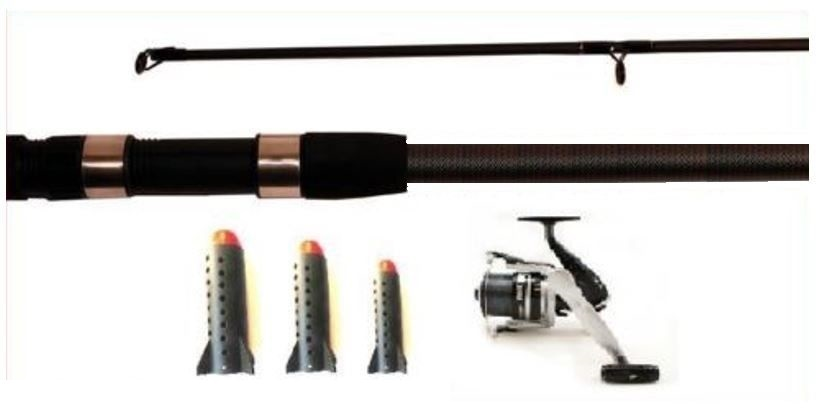 Fishing 5lb Carbo Spod Rod + Reel + 3 Spods for Carp Bait Marker