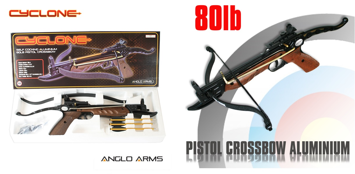 80lb Aluminium 'CYCLONE' Anglo Arms Self Cocking Crossbow (Woode