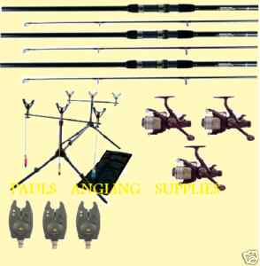 Carp fishing Kit 3 Rods, Reels, Rod Pod and Alarms