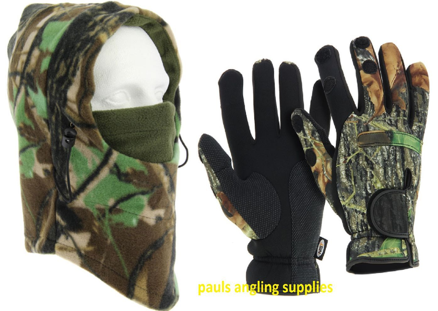 NGT Neoprene Fishing Gloves Camo & Snood Face Guard for Shooting