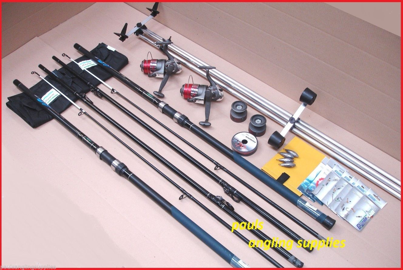 Shakespeare 13ft sea fishing beach beachcasting rods reels for Fishing equipment stores