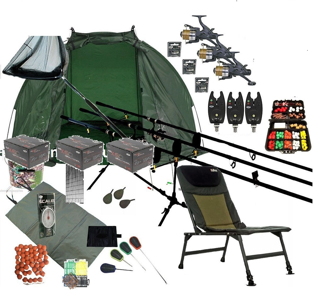 3 Rod Mega Carp Fishing Set Up Kit Rods Reels Chair Alarms Bait