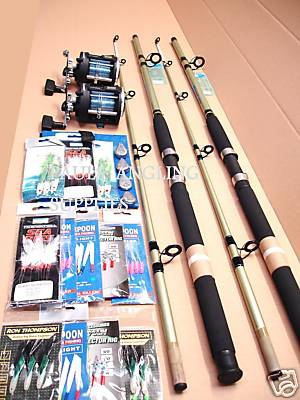 2 x Sea Fishing Boat Rods and Multiplier Reels and Tackle