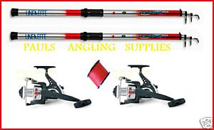 2 x Travel Beach Rods Reels and Line