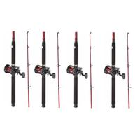 4 x Fladen Red Boat Fishing Rod + Multiplier Reel with Red Line