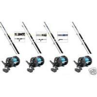 4 Sea Fishing Boat Rods with Multiplier Reels