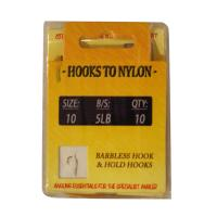 10 Barbless hooks tied to nylon