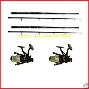 2 Carp Fishing Rods with Carp Fishing Reels Lineaeffe