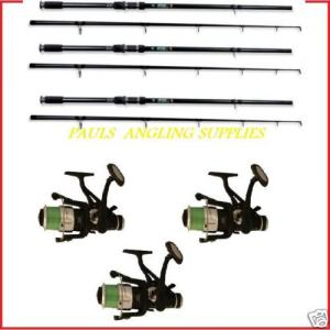 3 Carp Fishing Rods with Carp Fishing Reels Lineaeffe