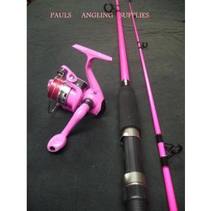 Pink Fishing Rod + Pink Reel + Pink Line
